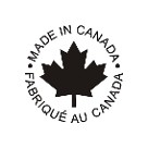 Hand made in Canada, Fabrique Au Canada logo in black and white with a maple leaf.