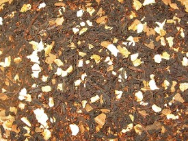 Organic Black Tea Custom Blend presented with loose leaf black tea, red tea and organic orange pieces made in Canada.